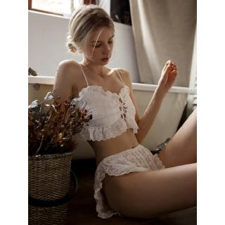 Summer Sexy Lace Cute Ladies Pajama Set Cotton Camisole and Shorts White Set Casual Pure Color For Women