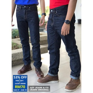 [ SALE ] Original Jeans Straight Cut + FREE GIFT, DISKAUN 53%, Size 27 - 42 (Blue Black) Limited Stock, Azy Jeans & Co.