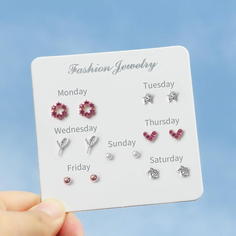 Set Anting 7Pair Crystal Heart Bow Silver Stud Earrings One Week Pearl Earring Women Jewelry Accessories