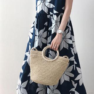 Women Fashion Straw Bag Handmade Woven Rattan Shoulder Bag