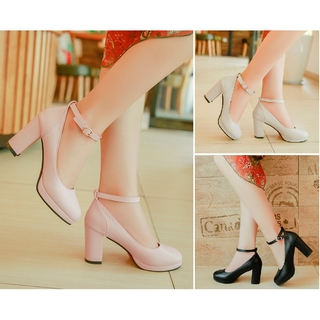 READY STOCK 7983 High Heels cute mary jane thick ankle strap round toe dress