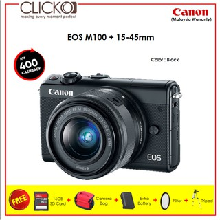 Canon EOS M100 + 15-45mm BLACK + 5 IN 1 Packages ( Canon M'sia Wty )