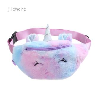 jiewene Women Fashion Unicorn Pocket Student Cartoon Cute Sports Pocket Plush Waist Bag