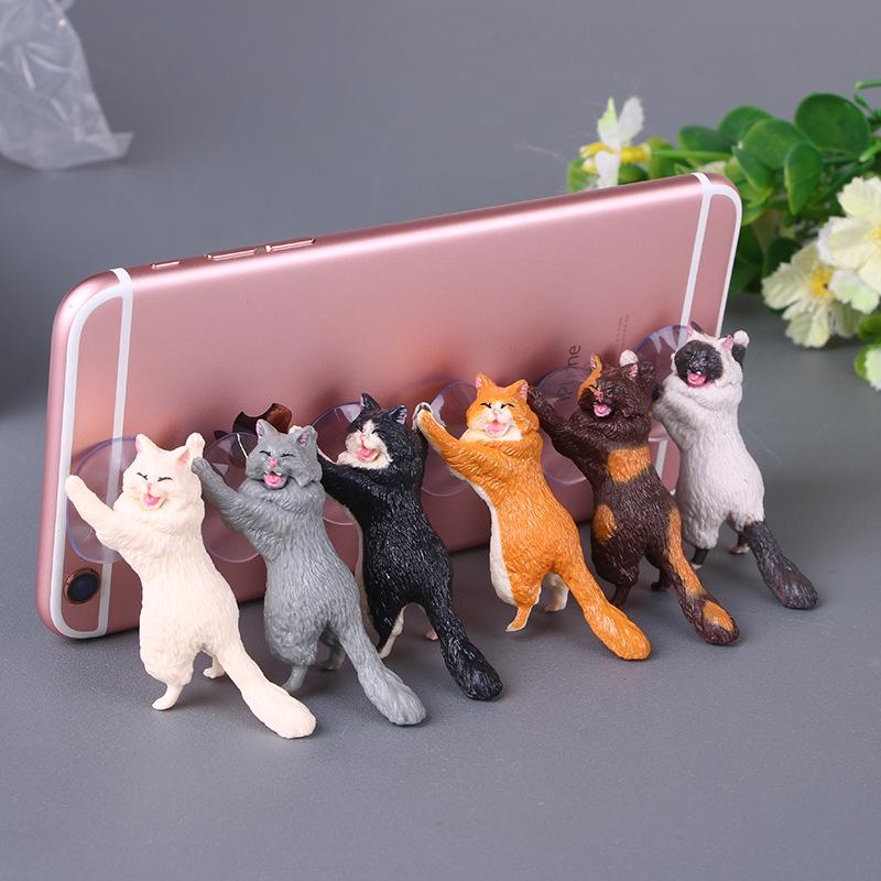Mobile phone bracket desktop cat cat cat rescue army sucker phone bracket cartoon cute kitten exquisite gift (6 Pack)