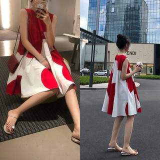 Cotton Maternity Dress▩Pregnant women in summer dress long stitched sleeveless women's skirt round collar cute very fai