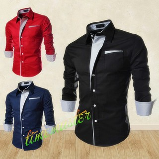 TMR🎁Men Striped Cotton Shirt Business Casual Slim Fit Male Shirts Clothes