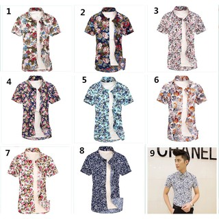 New men's short-sleeved shirt floral beach shirt men's casual shirt plus size:M-5XL fashion Printed shirt Hawaiian style