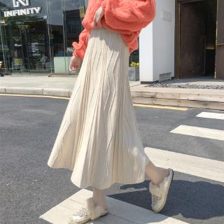 retro suede high waist a-line pleated skirt