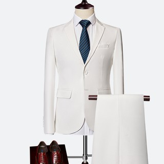 Tuxedos Men's Blazers Jackets Fashion 2 Pieces/Sets Coat+Pants Two buttons Wedding dress Mens Suits