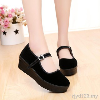 ™Large base in the old Beijing cloth shoes for women's with non-slip shoes/hotel professional ms/black work wedges