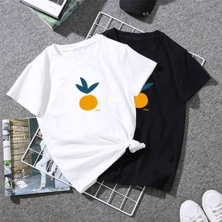 Korean fashion trend pure color simple letters orange print short-sleeved T-shirt lovers top girl