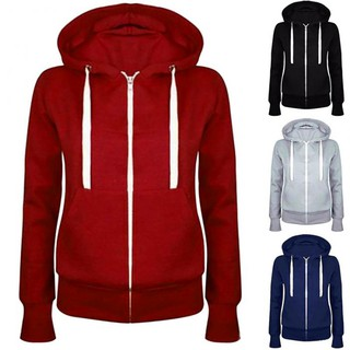 Women Solid Zip Up Hoodies Sweatshirt Hooded Long Sleeve Coat Tops