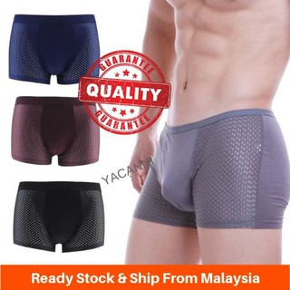 Local Stock Mesh Men Solid Breathable Underwear Bamboo Fiber Men's Comfortable Boxer Shorts
