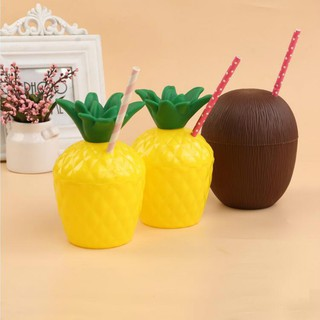Hawaiian Pineapple Coconut Cups Fancy Dress Party Hawaii Luau Stag Beach