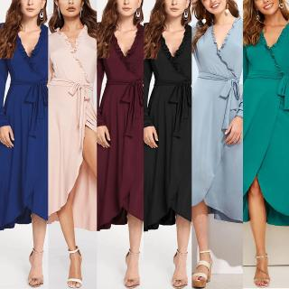 Fashion OL Style Women Ladies Solid Color V Neck Dress Work Wear
