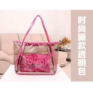 EVON PREMIUM SB023 SHOULDER BAG JELLY TRANSPARENT TRENDY HAND CARRY BAG 2 IN 1 TOUGH FASHION HANDBAG WOMEN LADY GIRL
