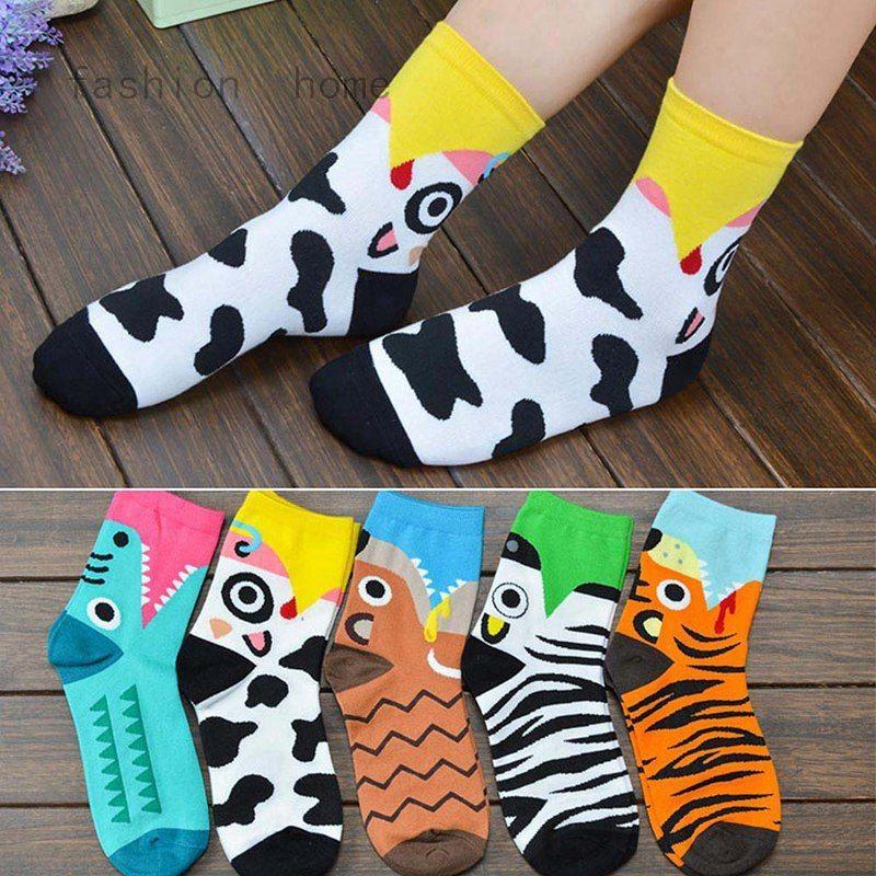 1 Pair Women Tiger Cow Zebra Mole Socks Cute Animals Printed Cool Cartoon Socks