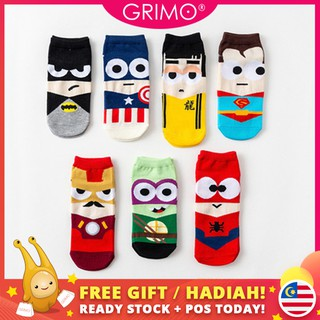 READY STOCK🧦GRIMO Cartoon Hero Sock Super Hero Cartoon Man Boy Girl Cute Unisex Sock Ankle Women's Cotton Socks