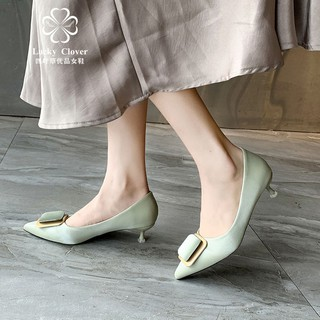 Fall 2019 new nude in han edition joker commuting with French high-heeled shoes is fine square buckle point single wom