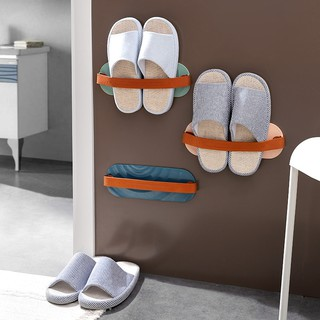 SUPO Depot Wall Mount Slipper Rack Shoe Organizer Nail Free Space Saver Bathroom Organizer Leather Belt Nordic Style