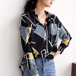 Western style long-sleeved new niche chiffon shirt