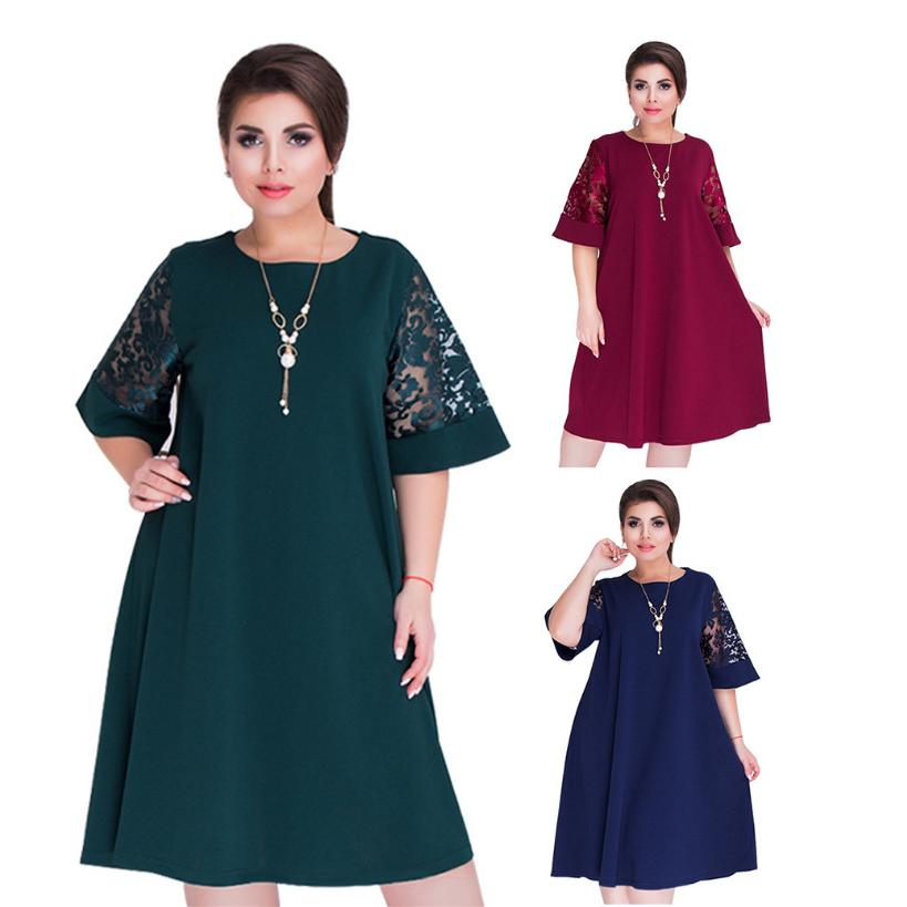 Xl-6xl Fashion Women Lace Short Sleeve Splicing Plus Size Loose Midi Dresses