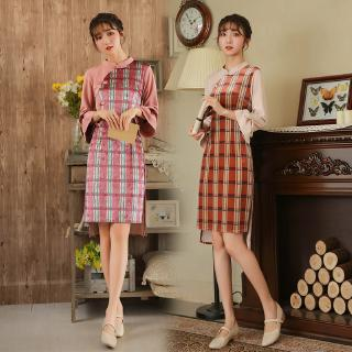 Pink Orange Vintage Cheongsam Dress for Women 2019 Chinese Style Dinner Casual Party Festa Midi Dresses