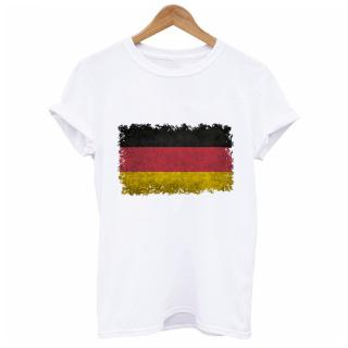 Short sleeved T shirt female summer new shirt round neck flag of germany in vint