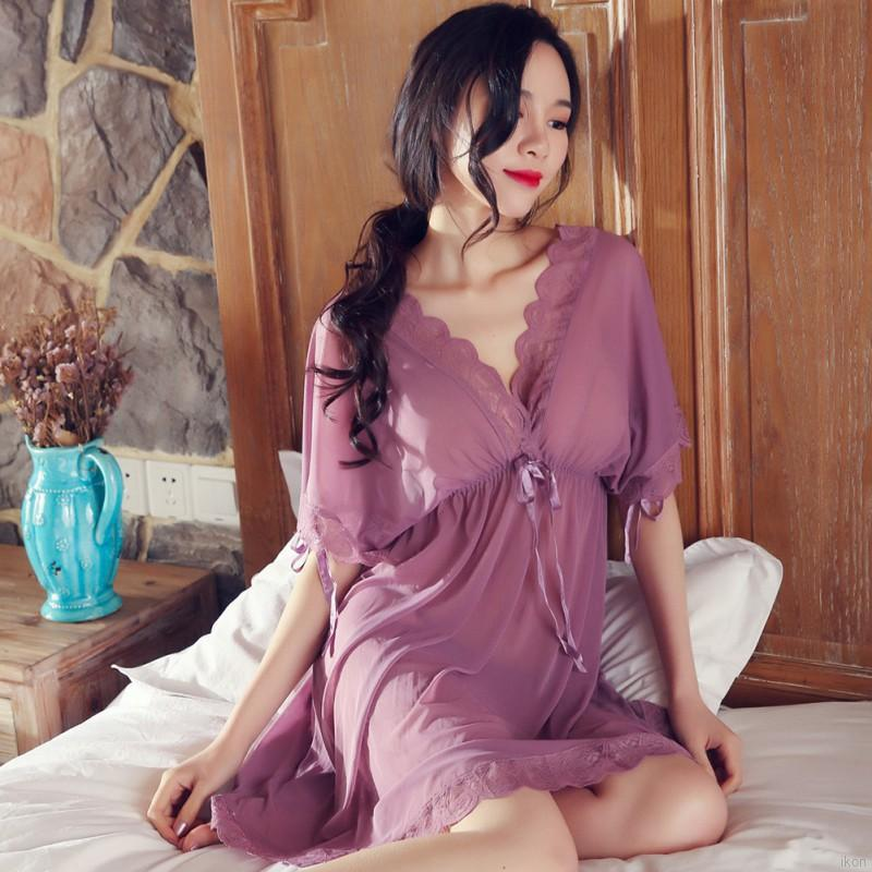 Women Nightgown Summer Sheer Night Dress Nightwear Sleepwear