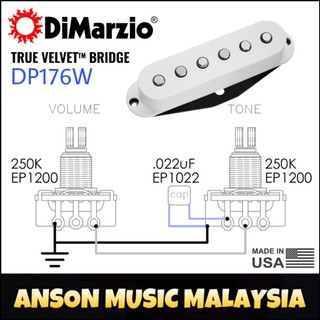 DiMarzio DP176W True Velvet Bridge Single Coil Pickup, White (DP176)