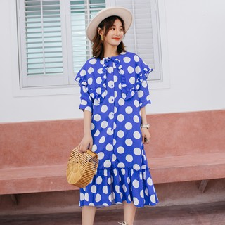 Special Style!!┋Best original blue wave point lattice dress female summer long in restoring ancient ways the knee slee