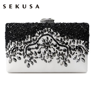 SEKUSA PU Fashion women diamonds luxurious evening bags clutch messenger shoulde