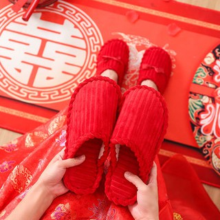Chinese Red Festive Birthday Year Groom Bride Bride Wedding Wedding Big Red Cotton Slippers Men and Women Lovers Hom35