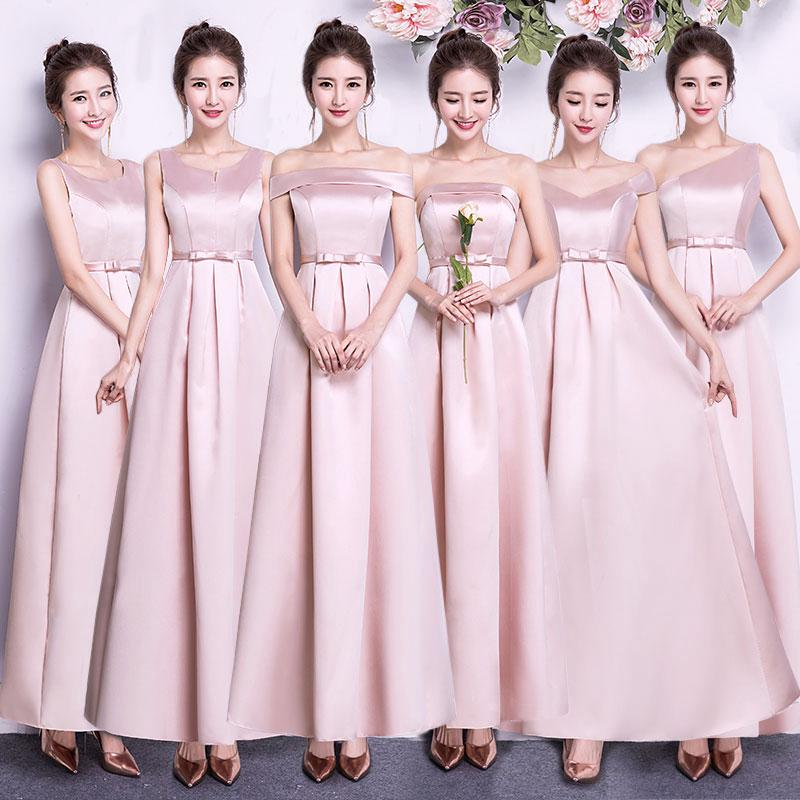 Ready Stock New Chinese Bridesmaid Dress Long Slim Slimming Dress Pink Long Evening Dress