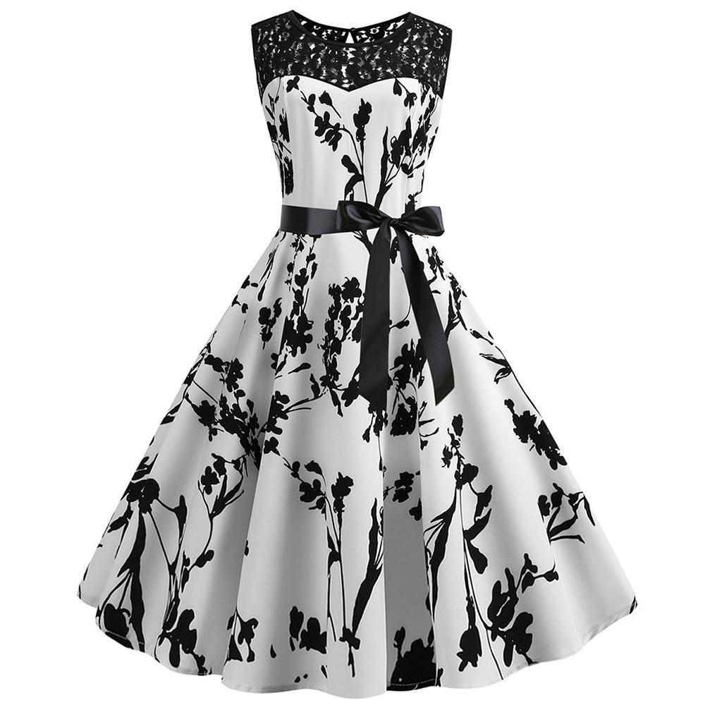 ️ Women Vintage Sleeveless Lace Splice Printing Party Prom Dress