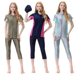 Three-piece suit of Muslim split short-sleeved swimsuit