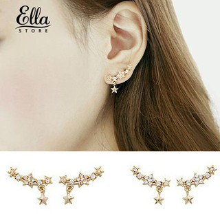 Ellastore Women's Five-Pointed Star Pendant Party Ear Studs Piercing Earrings