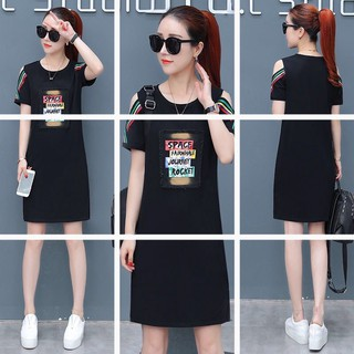 Women's short-sleeved t-shirt loose medium dress fashion casual lazy O-neck printing lazy sports straight chic style