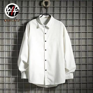 korea shirtPure color in the fall and winter long sleeve shirt male ins popular logo Japanese wind easing youth render