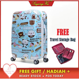 [M'sia] Ready Stock Premium High Quality Travel ABS Luggage Free Gift Bear 1LA