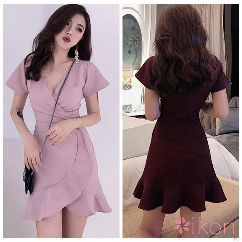 Women Korean Sexy Slim Waist Sexy Irregular V Neck Ruffled Women Mini Dress