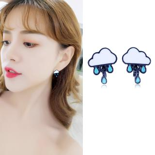 B161 Korean version of the small fresh clouds raindrop lovely temperament simple earrings small earrings