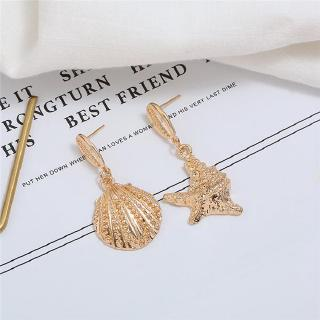 Fashion Earrings Gold Shell Star Asymmetrical Earrings Women Engagement Wedding Jewelry Accessories