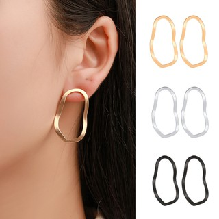 Exaggerated Metal Gold Earrings Geometric Irregular Hollow Wave Earing Women Gifts Accessories