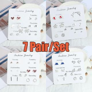 7 Pair Set Anting Crystal Heart Silver Earrings Women Fashion One Week Earring Jewelry 2019 Hot Sale