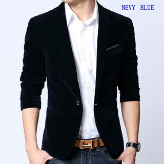 Mens High-quality suit blazer slim fit suit jacket velvet outwear coat Suits