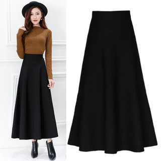 Women High Waist Wild Casual Plus Size A-Line Maxi Skirt