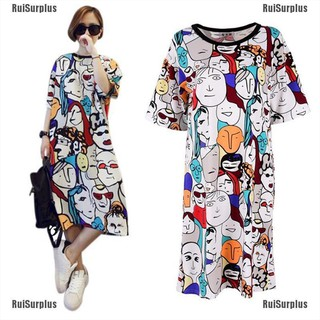 RuiSurplus Women Summer Loose Casual Dress Printed Short Sleeve Boho Dress Nightdress