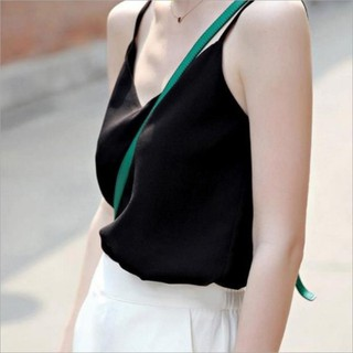 2019 spring and summer new sleeveless V-neck chiffon vest sling female summer wear bottoming shirt loose large size