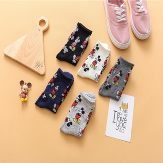 ***🇲🇾Msia Ready Stock***1Pair Mickey Mouse Cotton Socks Women Socks Mid height Socks Korean Ins style socks